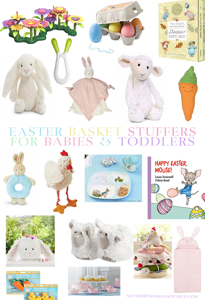 Easter basket stuffers for babies and toddlers southern mama guide see last years easter basket ideas here still some of our favorites last year the flower bouquet egg chalk and tea set were big hits negle Choice Image